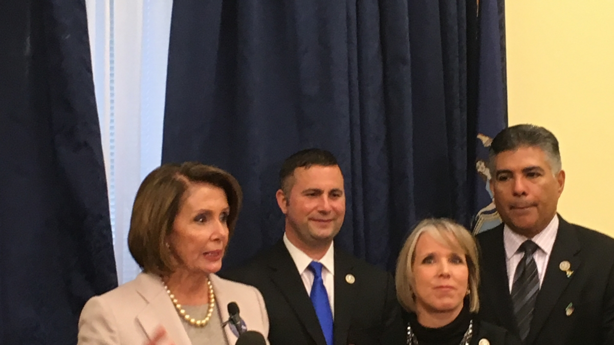 Photo of Leader Pelosi with Reps Soto, Lujan Grisham, and Cardenas